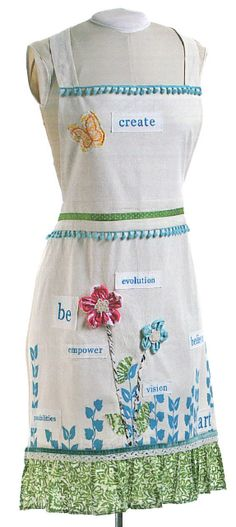Apron by Donna Downey - I want it so don't anyone else get it! On for $32.99 right now. I would prefer a pink apron, but this one is so cute and perfect for both cooking and crafting!