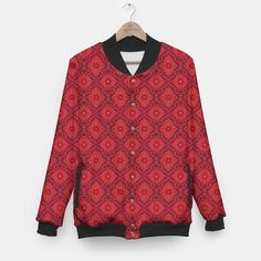 Red Flowers, floral arabesque Baseball Jacket, Live Heroes
