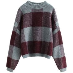 Blue Checked Drop Shoulder Knitted Jumper (3.645 RUB) ❤ liked on Polyvore featuring tops, sweaters, shirts, drop shoulder sweater, jumper tops, purple jumper, purple top and purple sweater
