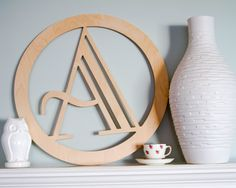 """New to L0FT90 on Etsy: Round Wood Monogram -23""""x23"""" Large Modern Circle Home Decor Customized Initial Wall Hanging [WH-139] (42.00 USD)"""