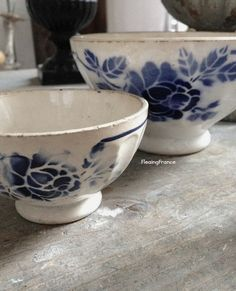 FleaingFrance....Blue and White Cafe au Lait Bowls