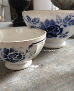 FleaingFrance....Blue and White Cafe au Lait Bowls