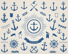 Anchor Clip Art - Sea Anchor, nautical clipart contains a collection digital images of anchor This amazing sea or nautical clip art set contains 45 different blue anchors i very suitable for cards, invites and scrapbooking! * You will receive: - 45 transparent PNG files with the sea