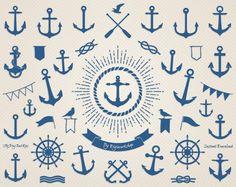 Ancre de bateau Clip Art: « Ancre marine » clipart nautique avec des images numériques d