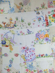 by Jane Brocket, comforter top pieced from vintage embroidered linens