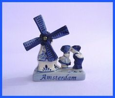 Windmill Blue Delft Deco Vintage Turning Windmill With Kissing Boy & Girl