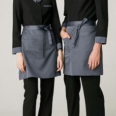 Gray Polyester Cotton Waist Apron - Little Tailor Studio Waiter Uniform, Waist Apron, Bib Apron, Pastry Shop, Barista, Coffee Shop, Work Wear, Leather Skirt, High Waisted Skirt