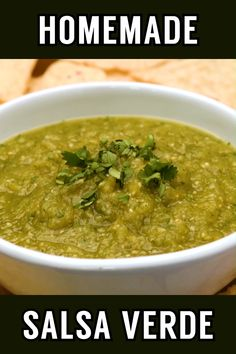 This fresh Mexican salsa verde is a flavorful combination of tomatillos, cilantro, onion, garlic, and peppers. Perfect for dipping or adding Mexican Salsa Verde, Mexican Salsa Recipes, Mexican Dishes, Green Salsa Recipes, Parsley Recipes, Mexican Snacks, Mexican Meals, Authentic Mexican Recipes, Authentic Salsa Recipe