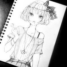 ✮ ANIME ART ✮ anime girl. . .short hair. . .hair bow. . .necklace. . .jewelry. . .cute fashion. . .lollipop. . .pencil drawing. . .sketch. . .graphite. . .cute. . .kawaii