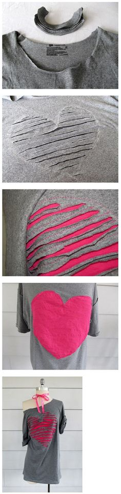 add contrasting fabric to a slashed t-shirt project,  love it!