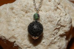 Essential Oil Diffuser Healing Necklace Aromatherapy Lava Rock and Ruby Ziosite Gemstones Reiki Infused Minimalism Black Green Pink