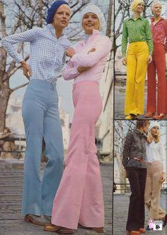 Calças boca de sino coloridas faziam a cabeça das mulheres antenadas em 1972