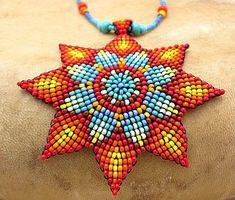 Seed Beaded  Mandala Necklace,  Native Beadwork, Medicine Art Jewelry. Sun Necklace