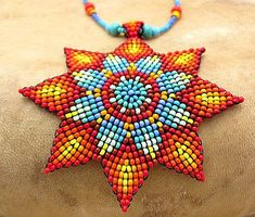 Seed Beaded  Mandala Necklace,  Native Beadwork, Medicine Art Jewelry. Sun Necklace