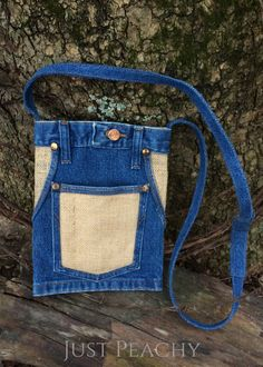 LJ Collection Upcycled Denim Cross-Body Hip Purse
