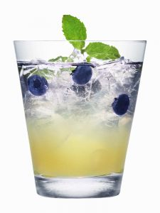 The Berri Sophisticated:  1 oz Absolut Berri Açaí Vodka  5 Blueberries  1 oz Fresh lime juice  1 oz Simple syrup  Perrier-Jouët NV Champagne  3 blueberries on a toothpick