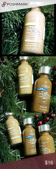 *$4.95 s&h *Bogo sale* New Stocking stuffer sale 4/$32 12/13  L'Or?al true match foundation  Cocoa  Cappuccino  Creme caf?   Included in the mix and match stocking stuffer sale!  Happy poshing!  Buy more save more Share more save more!   Share my full closet for discounts and free gifts! L'Or?al  Makeup Foundation