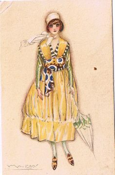 Art Deco Flapper in Yellow Silk and a Parasol - Lucien Mauzan