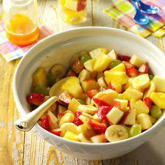 Fruit Salad with Apricot Dressing Recipe -When I serve this lovely refreshing salad for picnics and holidays, the bowl empties fast. —Carol Lambert, El Dorado, Arkansas