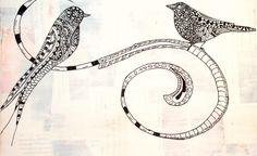 Zentangle Art | Zentangle Art in Ink on Canvas Two Birds by ArtisticLaVon on Etsy