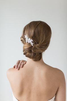 Petite Lace Hair Comb Floral Bridal Hair Pin by PowderBlueBijoux