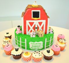 Barn Yard Animal Cake and Cupcakes by MegMade Cakes