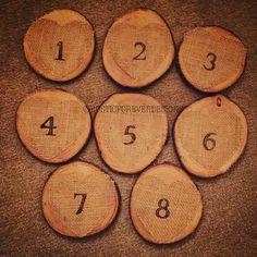Rustic wedding table numbers, table logs, wedding table logs, hessian table numbers