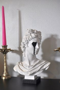 Upcycled Apollo Bust With Dripping Eye Grafitti