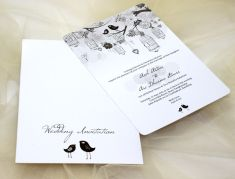 Cute black and white wedding invitation idea | Project by Ken's Collections http://www.bridestory.com/kens-collections/projects/soft-cover-1