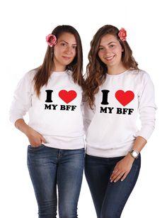 "Damen Oversize Crewneck Pullover /""BFF ROSE/"" best friends sister blondie brownie"