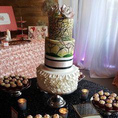 Stained Glass wedding cake #cateringworks #weddingcakes