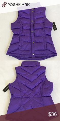 INC Women's Puffer Vest Purple Size Small INC Women's Puffer Vest Purple Size Small INC International Concepts Jackets & Coats Vests