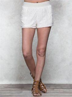 Cream Vertical Crochet Shorts