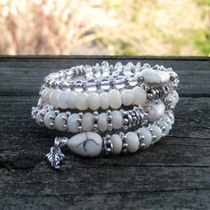 White and Silver Memory Wire Bracelet by BlooMoonJewelry on Etsy,