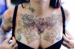 "Breast Tattoo # 95 - ""All eyes on me"" stunning cartoonish girl on upper breast:)"