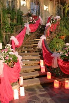 To go down the stairs from the car... with bows at the tie ups.. use tulle... This will be nice for the park.