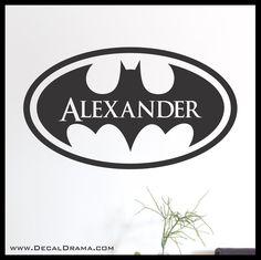 Personalized Name Batman emblem Superhero Vinyl Wall Decal