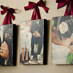print pics onto canvas & hang w/ ribbon