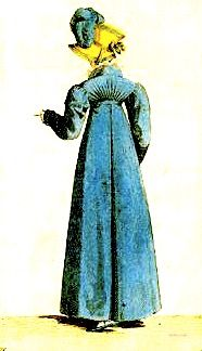 1807   Redingote, French.          Back view of a pleated, blue Merino wool, redingote with a high-waist and gathered short back bodice, worn with a jaunty yellow hat with a matching blue feather.                                                                                   via  Costume Parisienne.          suzilove.com