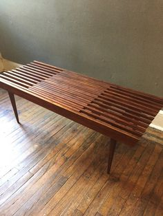 Mid century modern slat bench coffee table danish modern extendable slat bench