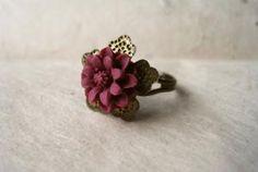 Burgundy flower ring  etsy.com  $9