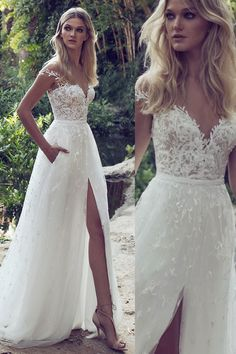 White Wedding Dresses, Long Wedding Dresses, Lace Boho Off the shoulder Cap Sleeves Long Country Slit Wedding Gown, Beach Wedding Dress #weddingdresses2018 #beachweddingdress #laceweddingdresses