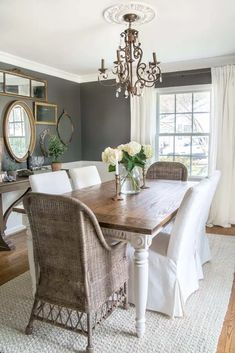 DIY Retrofitted Dining Table Top - Bless'er House Diy Dining Table, Modern Dining Chairs, Dining Room Furniture, A Table, Cottage Furniture, Fresco, Colonial, Beautiful Dining Rooms, Dining Room Design