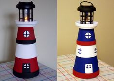 Terra Pot Lighthouses, made from various size terra pots, dollar store solar light and various paint colors