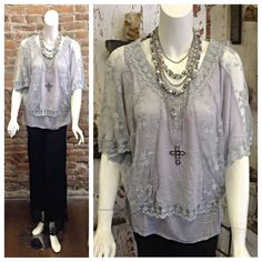 NEW ARRIVAL!! Be sure to grab this top before its gone!  S/S Top W/Embroidery- $43.00  Eden Necklace- $14.95  Grey an Pearl Necklace- $13.95  Black Stretch Pant- $47.00