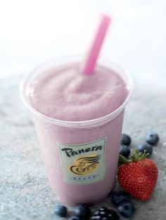 How to make a panera low-fat strawberry smoothie!   You can do wild berry (my fav) by changing out the strawberries to blueberries and black raspberries.