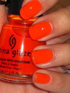 Best Nails Orange Neon Summer China Glaze Ideas – - All For Hair Color Trending Nails Yellow, Orange Nail Polish, China Glaze Nail Polish, Nail Polish Colors, China Glaze Neon, Nail Pink, Neon Nail Polish, White Nails, Nails Gelish