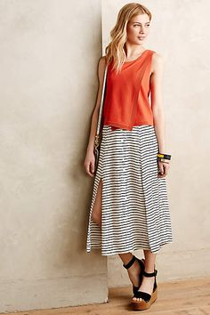 Au Revoir Silk Midi Skirt - anthropologie.com