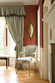 Love the color of the wall with the white   Edwina Drummond Interiors - traditional - living room - boston - Edwina Drummond Interiors