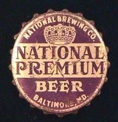 NATIONAL PREMIUM BEER CORK LINED CROWN CAP FOR CONE TOP CAN - BALTIMORE Premium Beer, Beer Bottle Caps, Beer Labels, Brewing Co, Bottle Art, Baltimore, Brewery, Maryland, Cork